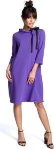 Fioletowa sukienka MOE z długim rękawem midi w stylu casual