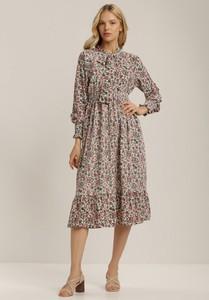 Sukienka Renee z okrągłym dekoltem midi z długim rękawem