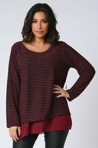 Czerwony t-shirt Plus Size Company w stylu casual z długim rękawem