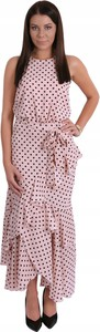 Różowa sukienka Inna maxi z dekoltem halter