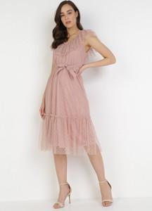 Sukienka born2be z dekoltem w kształcie litery v bez rękawów midi