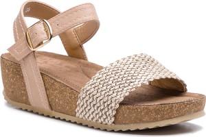 Sandały Refresh ze skóry ekologicznej na koturnie