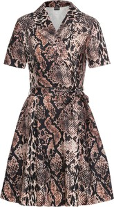 Brązowa sukienka bonprix BODYFLIRT mini z kołnierzykiem rozkloszowana