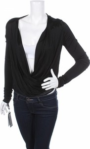 Czarna bluzka Pinko z długim rękawem z dekoltem w kształcie litery v w stylu casual