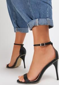 Czarne sandały Renee na szpilce na wysokim obcasie ze skóry ekologicznej