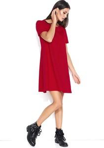 Czerwona sukienka Makadamia z krótkim rękawem z bawełny trapezowa