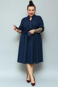 Niebieska sukienka KARKO z lnu midi z długim rękawem