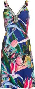 Sukienka bonprix BODYFLIRT boutique midi w stylu casual z dekoltem w kształcie litery v