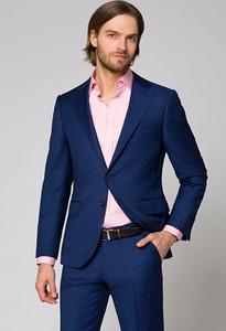 Niebieski garnitur LANCERTO z wełny