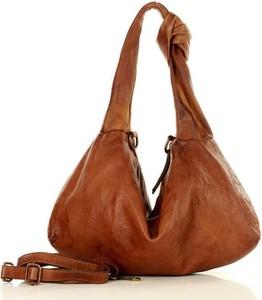 Brązowa torebka Merg w wakacyjnym stylu ze skóry
