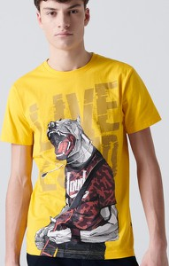 T-shirt Cropp z bawełny z nadrukiem z krótkim rękawem