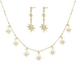 Irbis.style srebrny pozłacany komplet biżuterii - kolczyki i naszyjnik