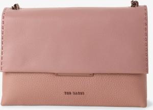 Różowa torebka Ted Baker matowa ze skóry mała