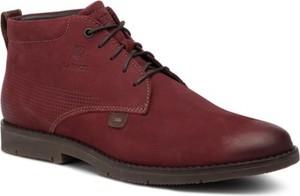 Czerwone buty zimowe Lasocki For Men sznurowane