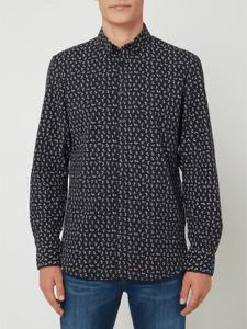 Granatowa koszula Montego z kołnierzykiem button down z bawełny z długim rękawem
