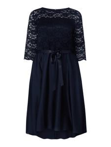 Granatowa sukienka Swing Curve z długim rękawem z satyny