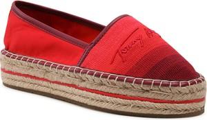 Czerwone espadryle Tommy Hilfiger w stylu casual ze skóry ekologicznej