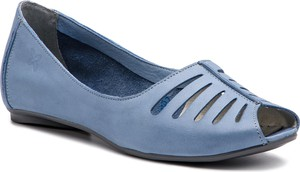 Niebieskie baleriny Maciejka z płaską podeszwą