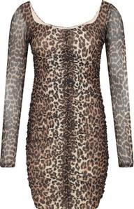 Brązowa sukienka Guess Jeans w stylu casual dopasowana z długim rękawem