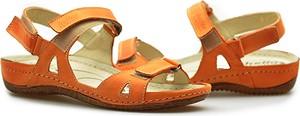 Sandały Helios na niskim obcasie ze skóry w stylu casual