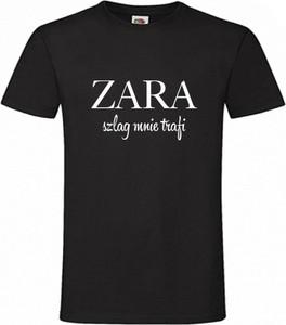 Czarny t-shirt Koszulker z krótkim rękawem w młodzieżowym stylu