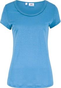 T-shirt bonprix bpc bonprix collection w stylu casual z lnu z krótkim rękawem