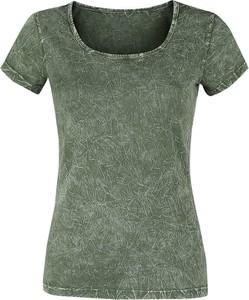 Zielony t-shirt Emp z krótkim rękawem z okrągłym dekoltem w stylu casual