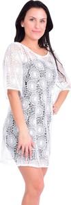 Sukienka Dedra z długim rękawem z okrągłym dekoltem mini