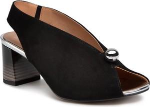 Czarne sandały SIMEN z zamszu na obcasie