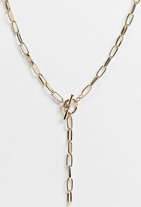 Reclaimed Vintage Inspired – Złoty łańcuszek z wisiorkiem, z zapięciem w kształcie litery T