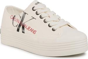 Trampki Calvin Klein sznurowane z tkaniny