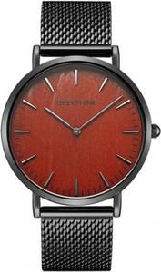 Zegarek premium GeekThink na czarnej bransolecie - bordowa tarcza