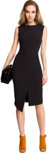 Czarna sukienka Style z okrągłym dekoltem bez rękawów z tkaniny