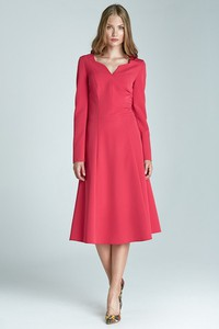 Różowa sukienka Merg midi z długim rękawem