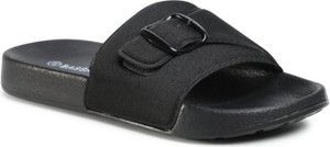 Czarne klapki BASSANO z płaską podeszwą w stylu casual