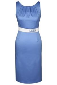 Niebieska sukienka Fokus z tkaniny midi z okrągłym dekoltem