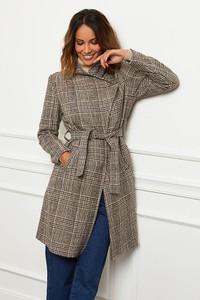 Brązowy płaszcz Le Comptoir Du Manteau w stylu casual z wełny