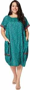 Zielona sukienka Aller Simplement midi dla puszystych