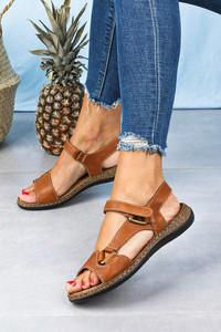Brązowe sandały Sergio Leone na koturnie na niskim obcasie w stylu casual