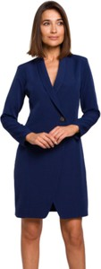 Niebieska sukienka Style z dekoltem w kształcie litery v z tkaniny mini