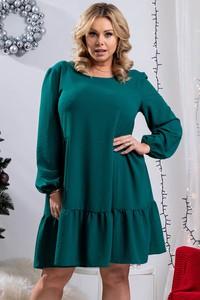 Zielona sukienka KARKO z dzianiny z okrągłym dekoltem z długim rękawem