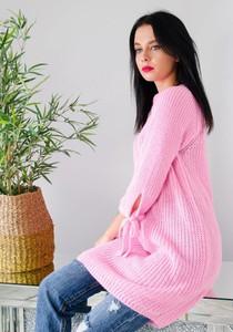 Różowa sukienka Olika z długim rękawem