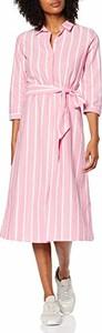 Różowa sukienka amazon.de z długim rękawem koszulowa z kołnierzykiem