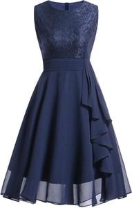 Sukienka Cikelly z tiulu bez rękawów z okrągłym dekoltem