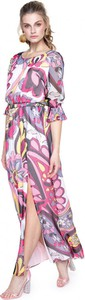 Różowa sukienka L'AF z okrągłym dekoltem w stylu casual z szyfonu