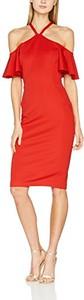 Czerwona sukienka amazon.de z krótkim rękawem midi