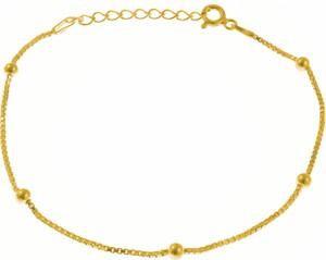 Valerio Elegancka pozłacana srebrna bransoletka na nogę choker kulki kuleczki srebro 925 WEN0191BNG