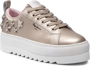 Złote buty sportowe Pepe Jeans na platformie ze skóry