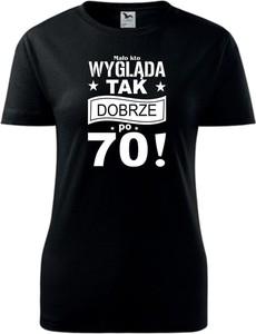 Czarny t-shirt TopKoszulki.pl w młodzieżowym stylu z bawełny z okrągłym dekoltem