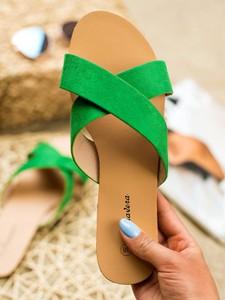 Zielone klapki Czasnabuty w stylu casual
